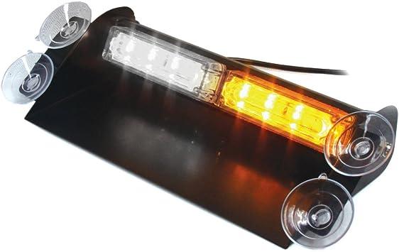 "8/"" 16W LED Warning Strobe Flash Emergency Dash Windshield Light Bar Amber White"