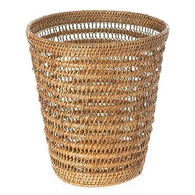 KOUBOO 1030059 La Jolla Rattan Mesh Round Waste Basket, 11  x 11  x 12 , Honey Brown