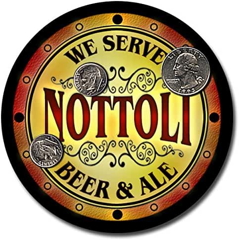 Nottoli Family Name Beer and Ale Rubber Drink Coasters - Set of 4