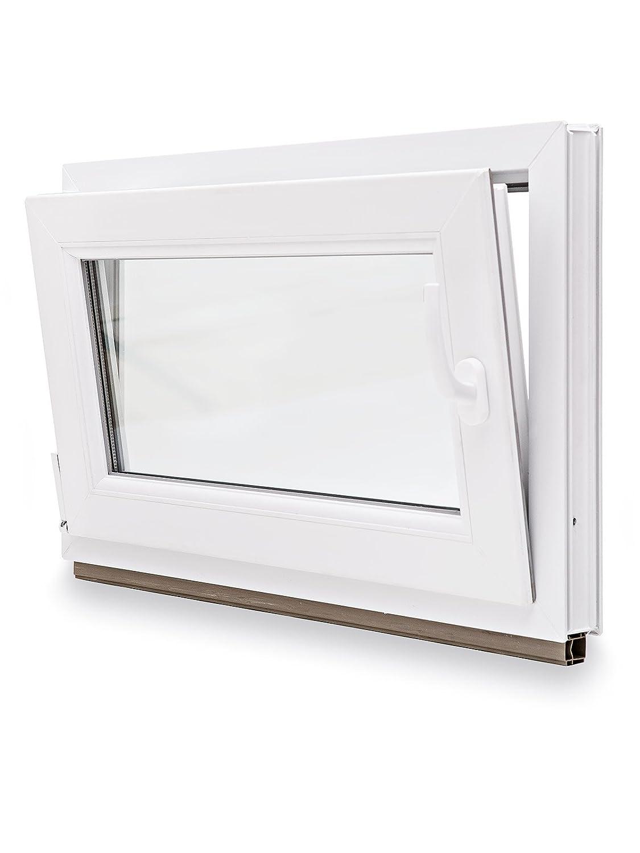 DIN rechts BxH: 80x50 cm Fenster Einbruchhemmend WK2-3-fach-Verglasung Kunststoff Kellerfenster 60mm Profil schneller Versand wei/ß verschiedene Ma/ße