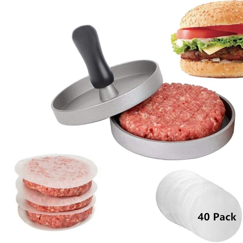 Little World Burger Press, Non-Stick Aluminum Hamburger Patty Maker with 40 Paper New