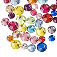 WXJ13 3 Sizes Flatback Rhinestones Mixed Colors Resin Round Crystal, 2000 Pieces