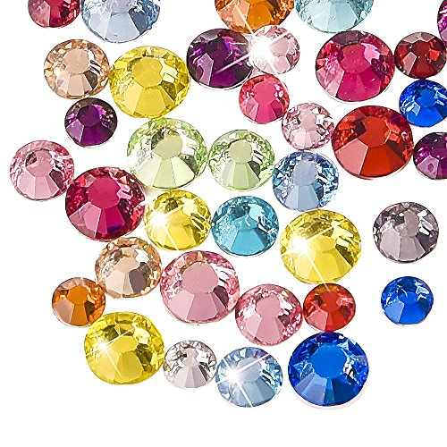 - WXJ13 3 Sizes Flatback Rhinestones Mixed Colors Resin Round Crystal, 2000 Pieces