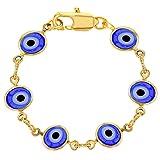 18k Gold Plated Blue Turkish Evil Eye Bracelet for