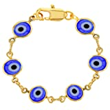 "Amazon Price History for:18k Gold Plated Blue Turkish Evil Eye Bracelet for Babies 4.5"""