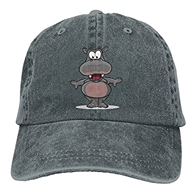 Unisex Cute Animal Grey Hippopotamus Adjustable Denim Cap Trucker Hat