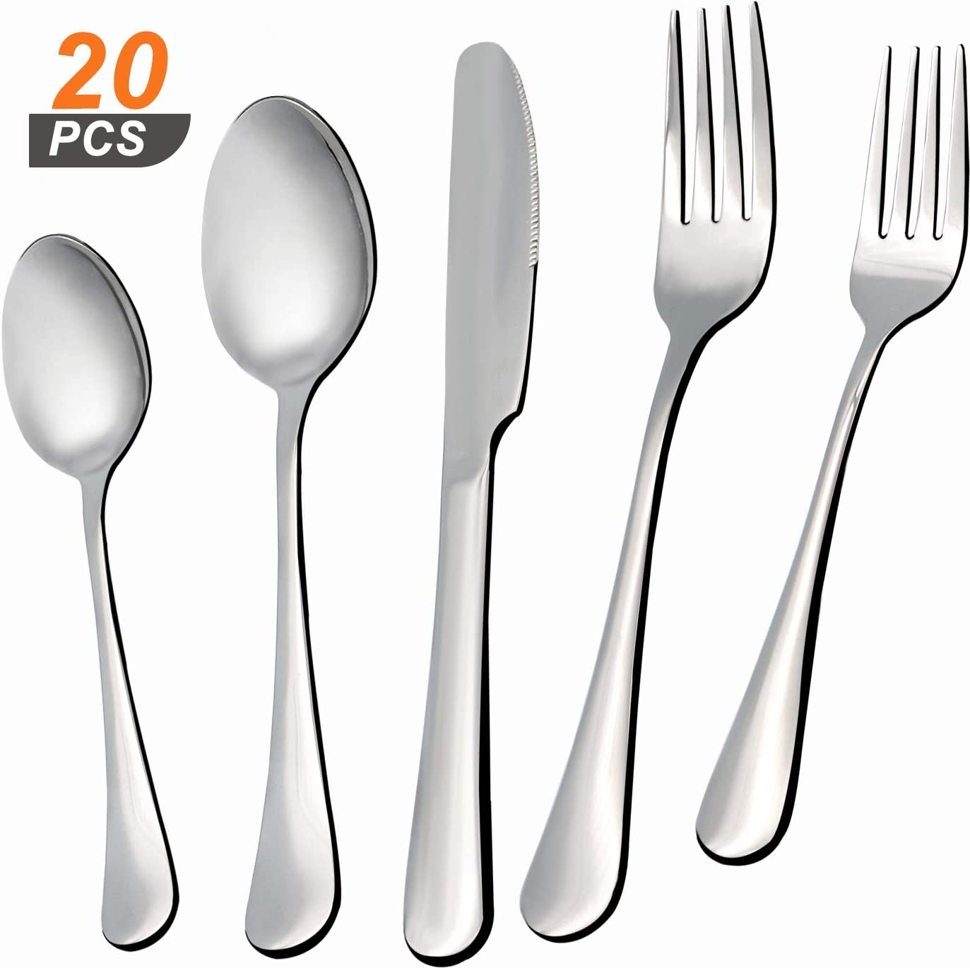 20 Pieces Silverware Cutlery Set, Stainless Steel Forks, Knives, and Spoons for Dinner, Salad, and Soup, Flatware set with Polished Finish, Reusable and Dishwasher Safe