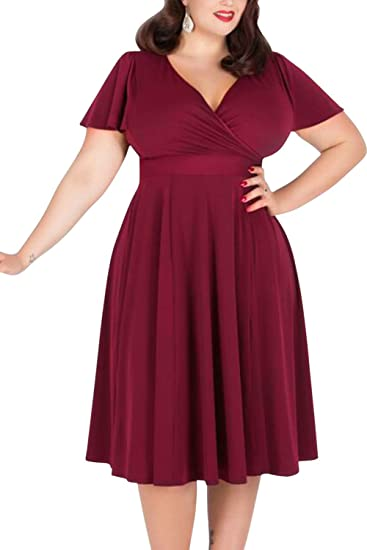 1940s Dresses | 40s Dress, Swing Dress Nemidor Womens V-Neckline Stretchy Casual Midi Plus Size Bridesmaid Dress $29.99 AT vintagedancer.com