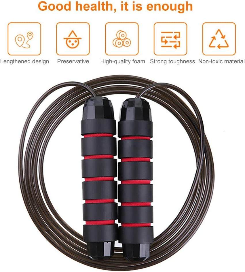 Speed Training Endurance Training Exercise Fitness Adjustable Jumping Rope Workout with Memory Foam Handles Jump Rope Tangle-Free Ball Bearings Rapid Speed Jump Rope