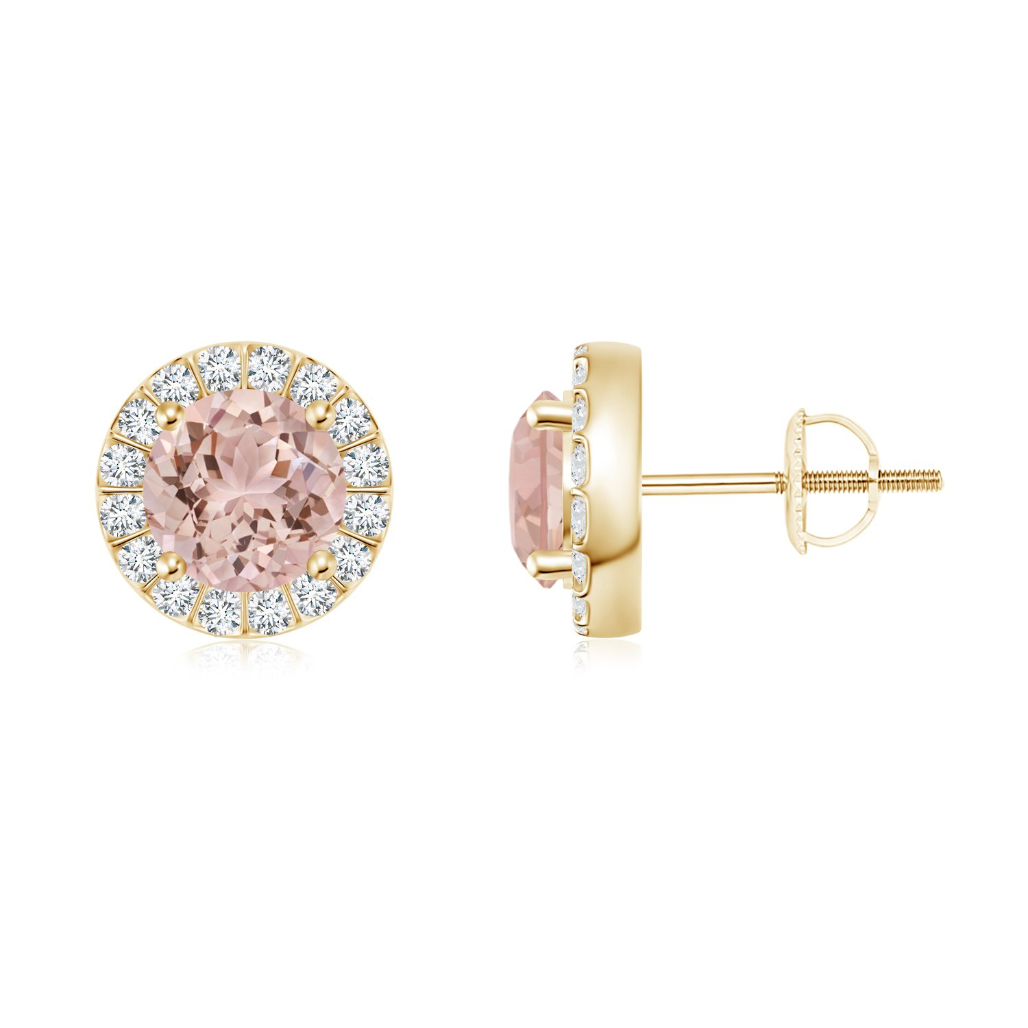 Amazon Cyber Monday Bar Set Round Diamond Halo Morganite Stud