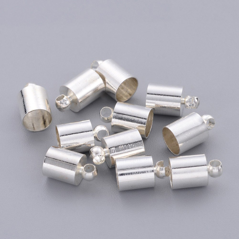 Crimp Fasteners Leather Cord Ends Caps Necklace Clasp Jewelry Findings NBEADS 500 Pcs Silver Color Brass Cord Ends