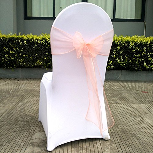Fashionmall 25pcs Chair Cover Sash Organza Sashes Chair Bow for Wedding Party Birthday Chair Decoration 24 Colors (Peach Beige) ()
