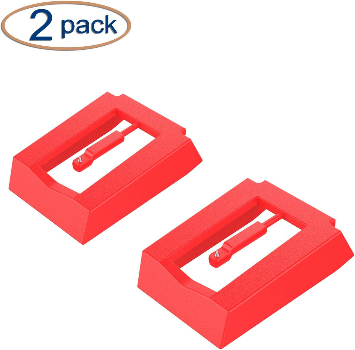 Red Ceramic Stylus Replacement for Turntable LP Rcm Record Player Needle Phonograph Pack of 2