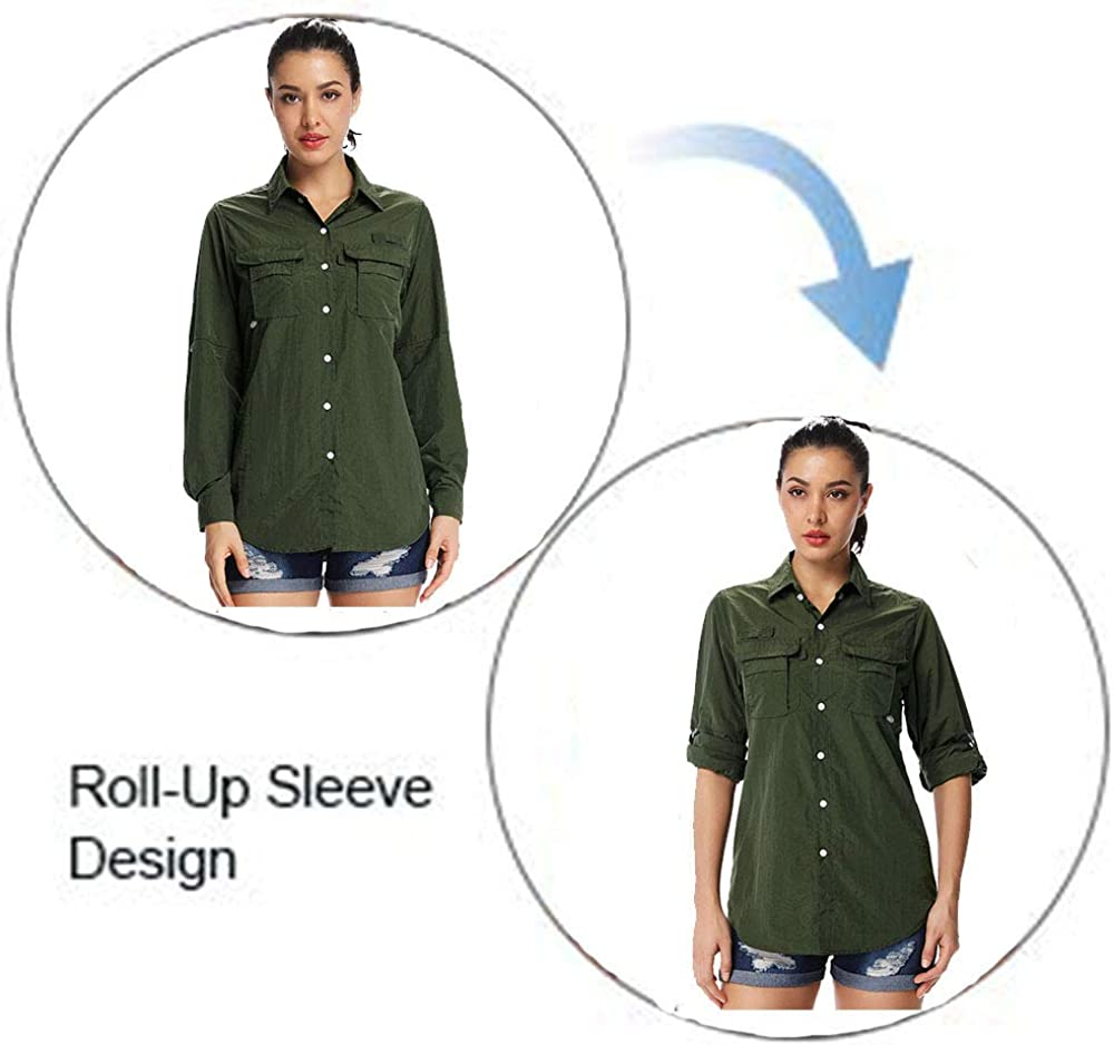 Sun Protection Long Sleeve Shirt Hiking Fishing Shirts Womens Quick Dry UPF 50