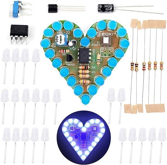 50PCS Heart Shaped LED Kit Colorful LEDs DIY Welding Kit Electronics Science Soldering Kit
