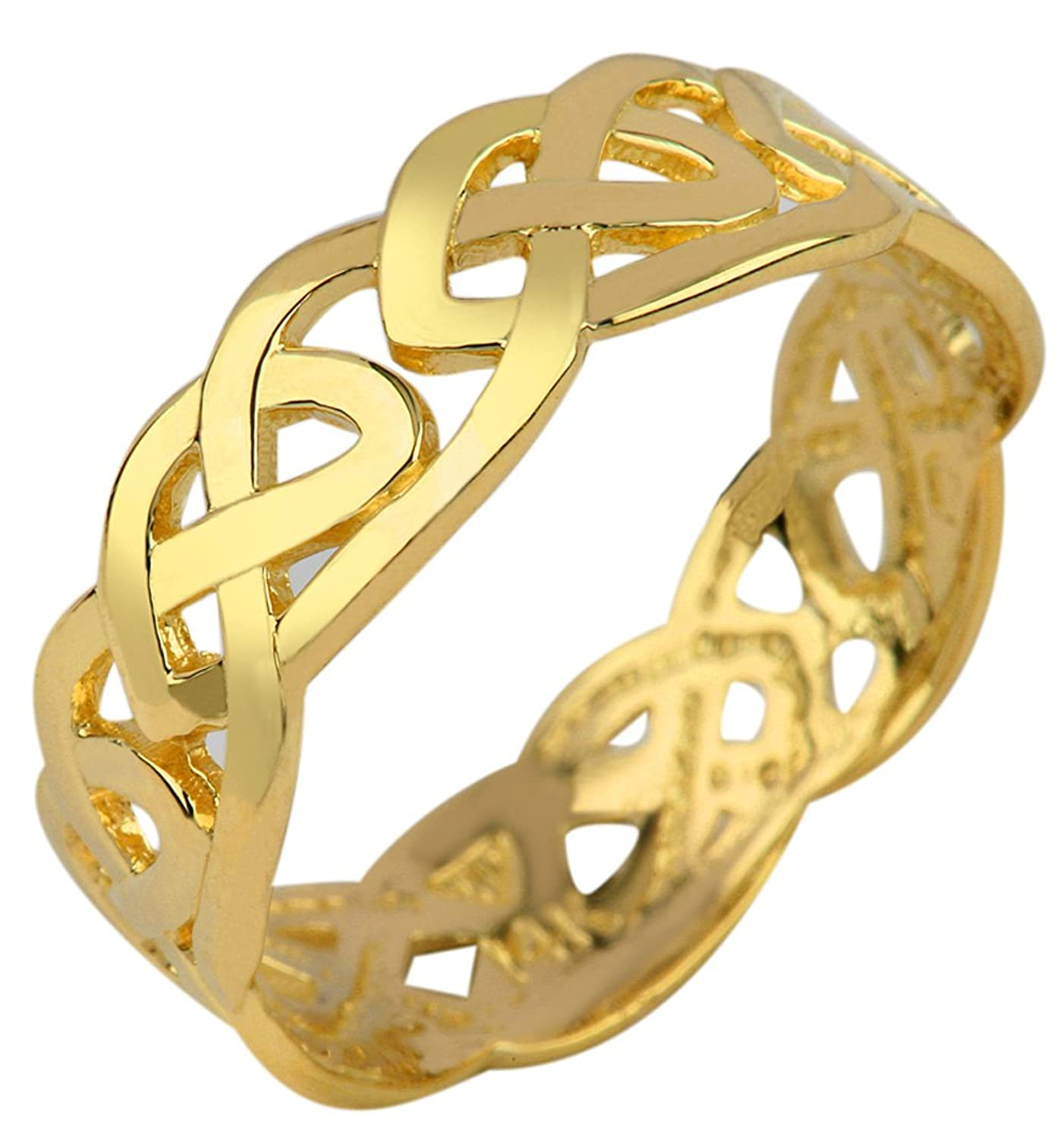 ring with round gold bands infinity band engagement wedding twisted diamond pin combo