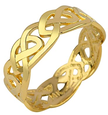 Solid Gold Celtic Wedding Band Trinity Knot Eternity Ring 10k 4