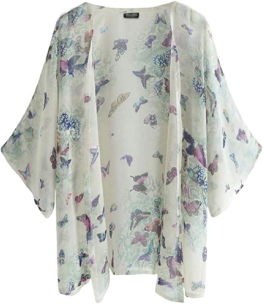 GAGA Women's Floral Print Kimono Sheer Chiffon Loose Swimwear Cardigans