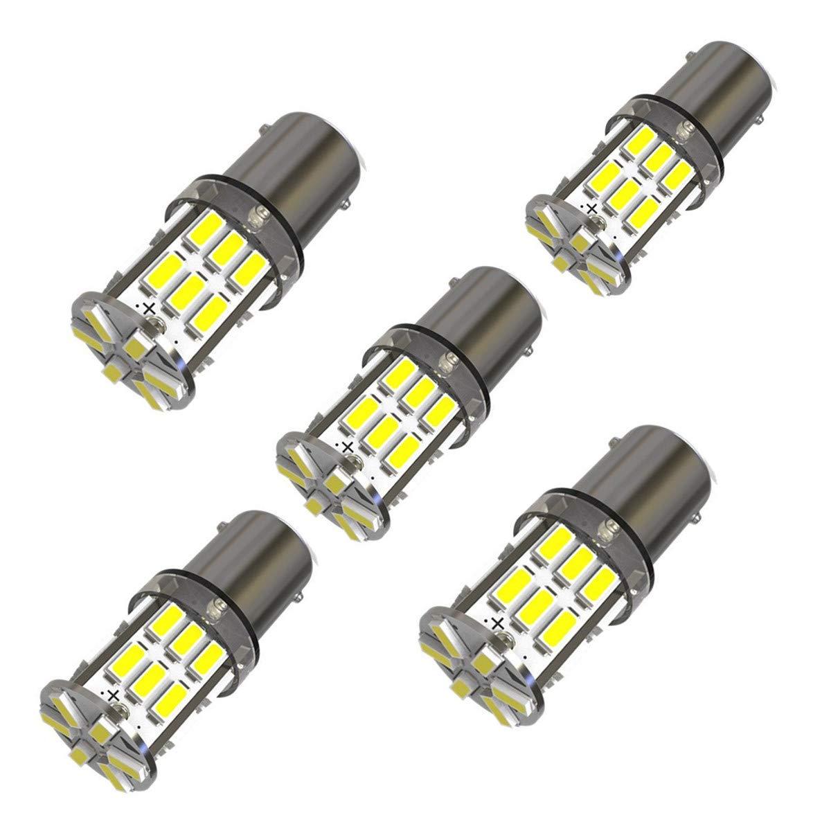 KAFEEK 5×Super Bright BA9 BA9S 1895 53 57 64111 LED Bulbs 30-3014SMD Side Door Courtesy Map Dome Lights,Xenon White