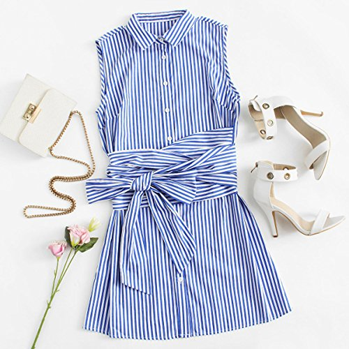 154533c5344 Romwe Women s Cute Sleeveless Striped Belted Button Up Summer Short Shirt  Dress Blue XS