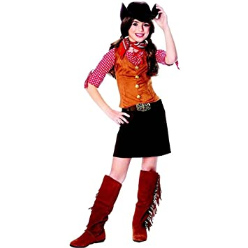 Amazon.com: Kids Western Cowgirl Outfit Girls Halloween Costume L ...