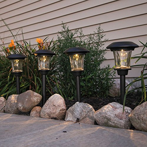 Solar Landscape Path Lights Waterproof  Set Of 4 Led Black Pathway Stake Lights  Dusk To Dawn Technology  Rechargeable Batteries Included  Outdoor Use   For Driveways  Backyards  Gardens And Patios