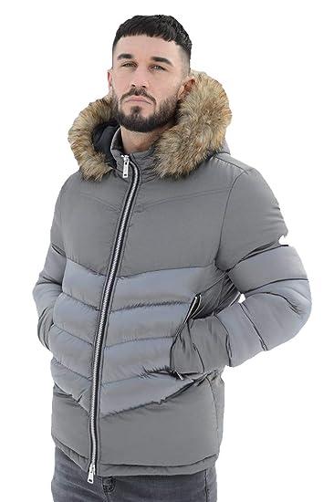 f0133497c 4Bidden Men's Aspen Chevron Fur Hood Puffer Jacket | Grey (Medium ...
