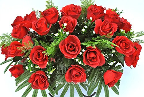 Cemetery Flowers for Grave Decoration with Red Roses and Baby