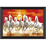 SAF UV Textured 7 Running Horses Vastu Framed Painting (35 cm X 50 cm X 3 cm)