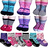 Non-Skid Gripper Assorted 6 Pairs 12-24 Months Baby Girl Toddler Socks Anti Slip Stretch Knit Grips Cotton Shoe Socks Slippers Gift+ Thank You Card (Multicolor)