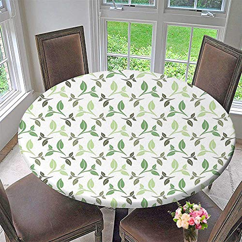 Mikihome Round Fitted Tablecloth Leaves Elegant Tea Leaves with Ornamental Design Stylish Soft Faded Colors Green for All Occasions 40