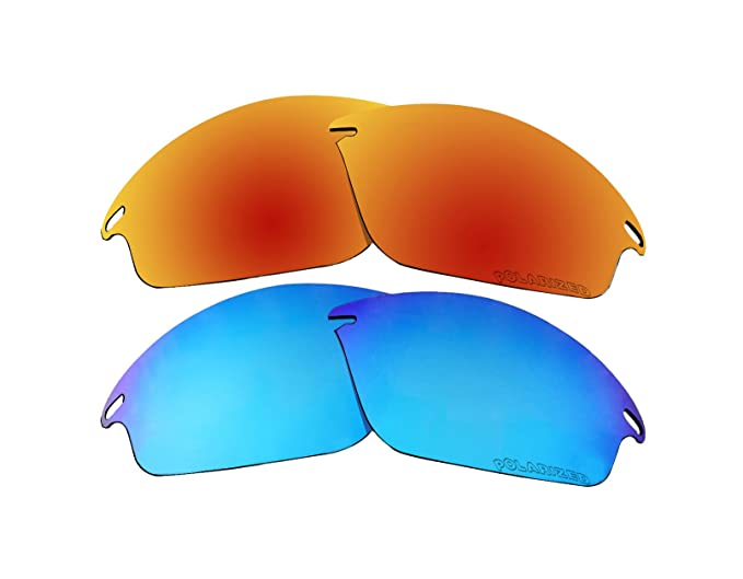 c8eeb50fb55f0 2 Pairs Polarized Replacement Lenses Red   Blue for Oakley Fast Jacket  OO9097 Sunglasses - - Amazon.com