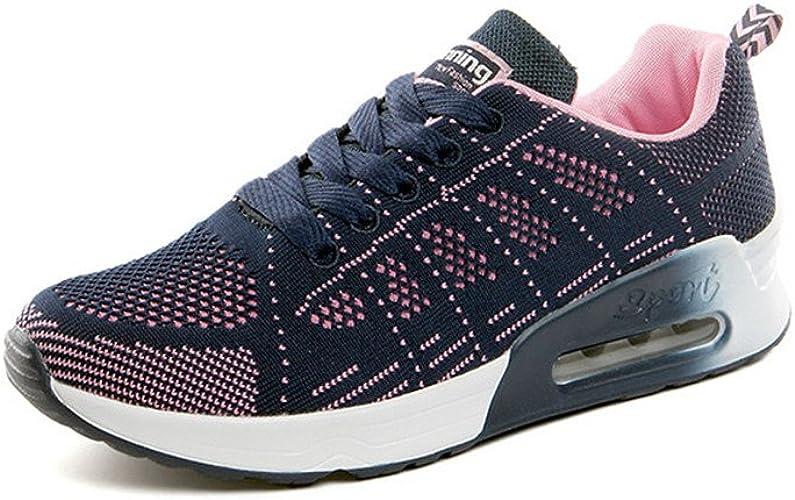 Zapatillas de Deporte Mujer Running Zapatos Gimnasia Entrenamiento Sneakers Air Cushion 4 CM Cordones Transpirables Sport Negro Azul Gris 34-39: Amazon.es: Zapatos y complementos