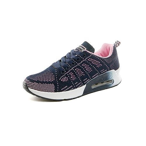 Zapatillas de Deporte Mujer Running Zapatos Gimnasia Entrenamiento Sneakers Air Cushion 4 CM Cordones Transpirables Sport Negro Azul Gris 34-39: Amazon.es: ...