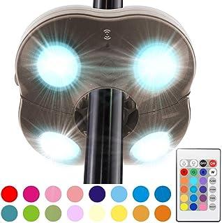 HONWELL Lámpara para Sombrilla de Patio Luz Parasol Iluminación exterior LED con Control Remoto Luz de Camping 16 Cambio de Color para Sombrillas y Paraguas de Playa, Patio, Jardín y Piscina (Blanco):