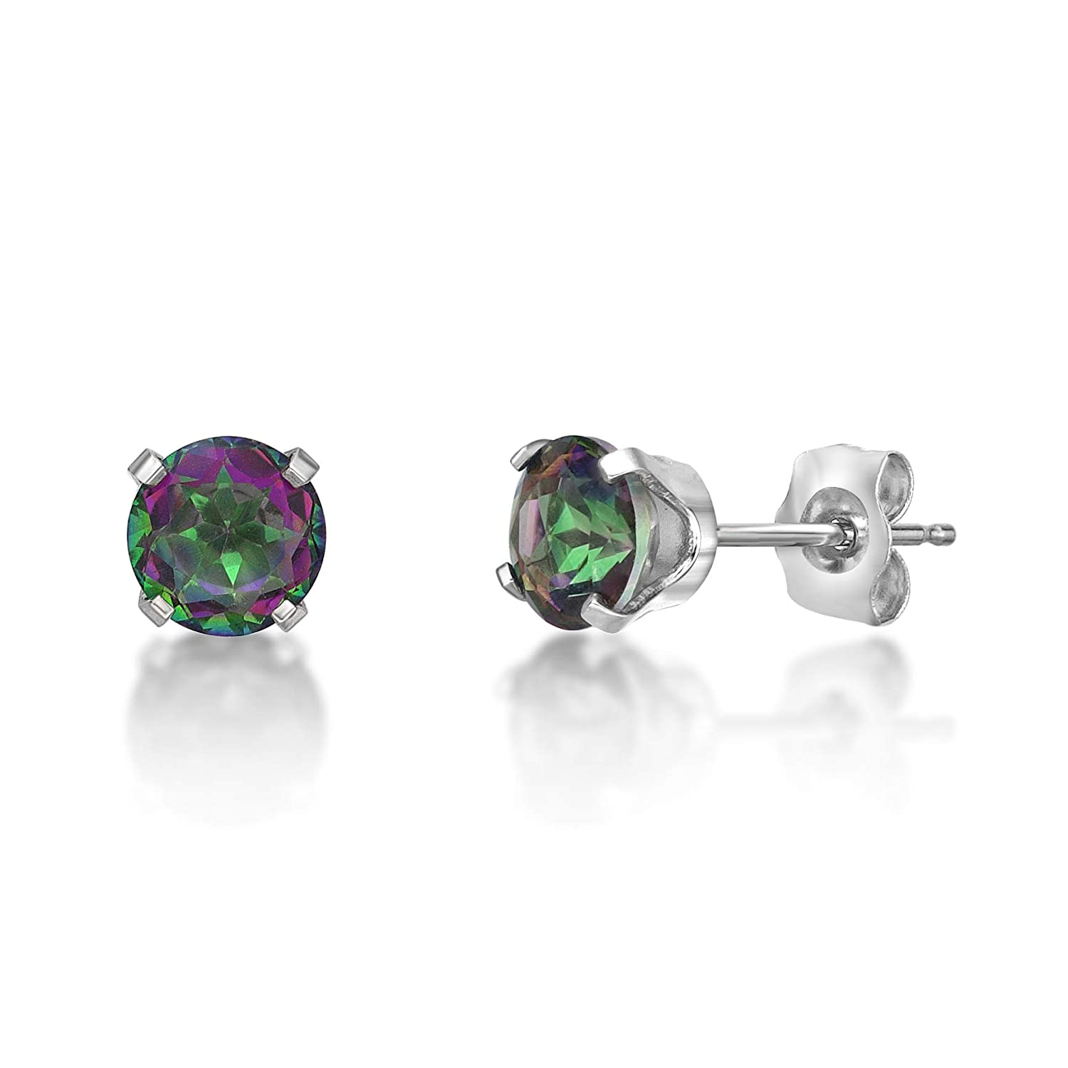 Round 5MM Gemstone 10K White Gold Stud Earrings