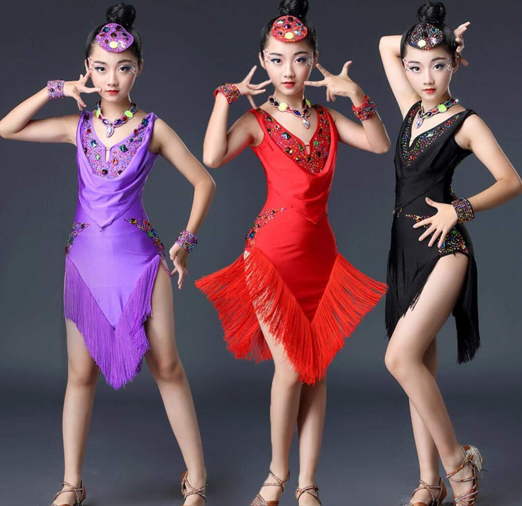 ZYLL Kinder Latin Latin Latin Dance Wear, Kinder Kinder Pailletten Fringe Bühnenkampf Wettbewerb Ballroom Dance Kostüm Mädchen Latin Salsa Tango Quaste B07QNQFZ45 Bekleidung Explosive gute Güter 100f8c