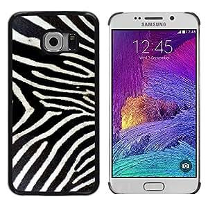 KOKO CASE / Samsung Galaxy S6 EDGE SM-G925 / patrón de cebra whote rayas naturaleza negro / Delgado Negro Plástico caso cubierta Shell Armor Funda Case Cover