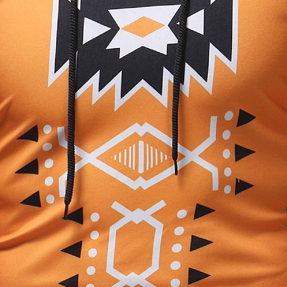 Mfasica Mens Long Sleeve Hoodie Printing Patterned Slim Pullover Sweatshirt
