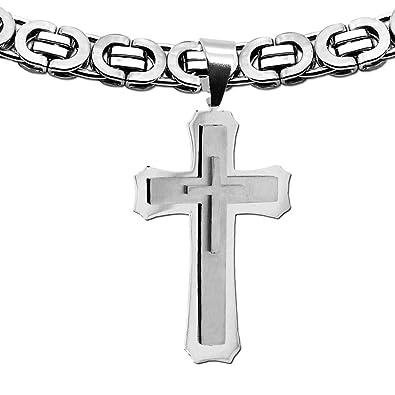 Set Königskette Anhänger Halskette Kreuz Kruzifix Herren Damen Silbern Schwarz