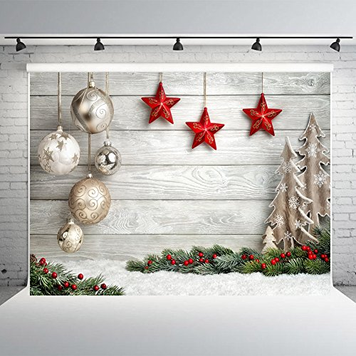 7x5ft Christmas Balls White Wood Wall Photography Backdrops Vinyl Photo Backdrops Studio Background Props