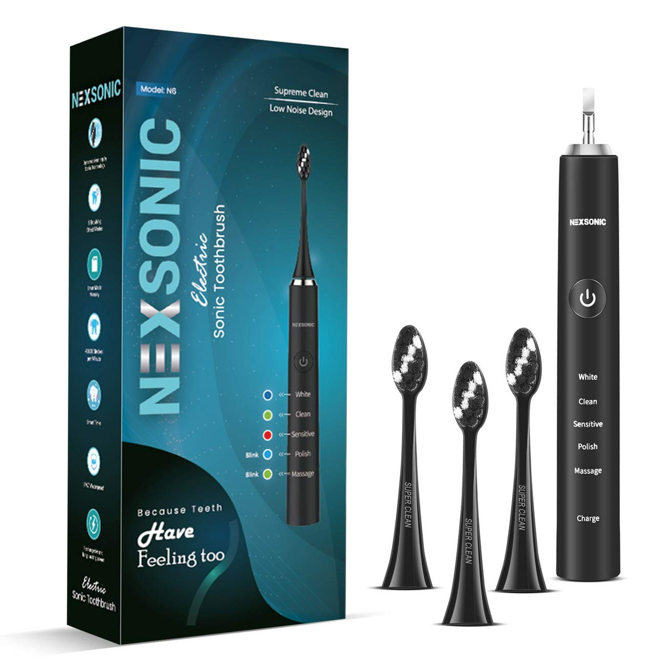 Sonic Electric Toothbrush for Adults – USB Rechargeable Battery Electronic Tooth Brush with 3 Replacement Soft Brush Heads 5 Models Travel Automatic Power Gum Toothbrushes Dentist Recommend Black