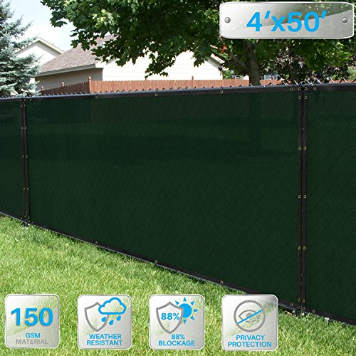 - Patio Paradise 4' x 50' Dark Green Fence Privacy Screen, Commercial Outdoor Backyard Shade Windscreen Mesh Fabric with Brass Gromment 85% Blockage- 3 Years Warranty (Customized