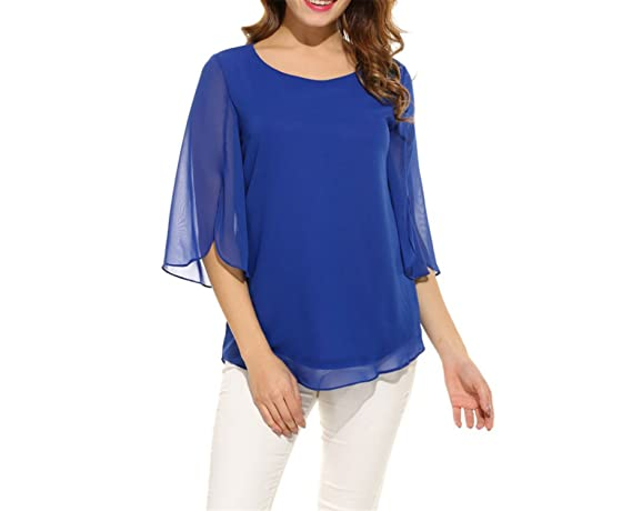 Processes Womens Blouse Blusas Summer Casual Flare Sleeve O Neck Tops at Amazon Womens Clothing store: