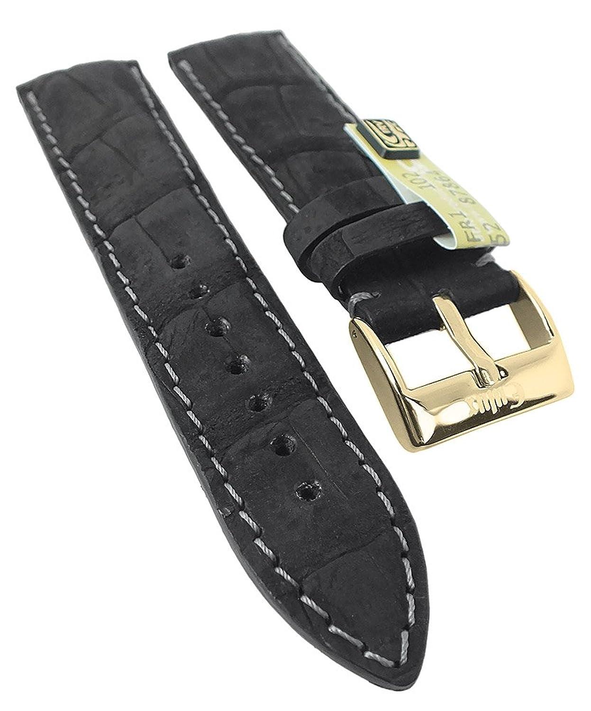 Kaiman Nubuk Ersatzband Uhrenarmband 20mm - 22mm | Kaiman-Leder schwarz - matt 30385 - Stegbreite:22mm - Schließe:Golden