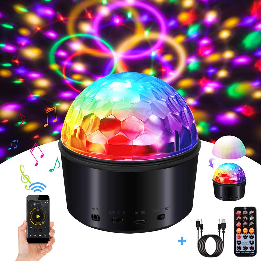 SOLMORE Party Lights Sound Activated Disco Ball Strobe Light 9 Colors Disco Lights DJ Lights with Remote Control Wireless Phone Connection LED Stage Light for Kids Bedroom Wedding Party Birthday 9W