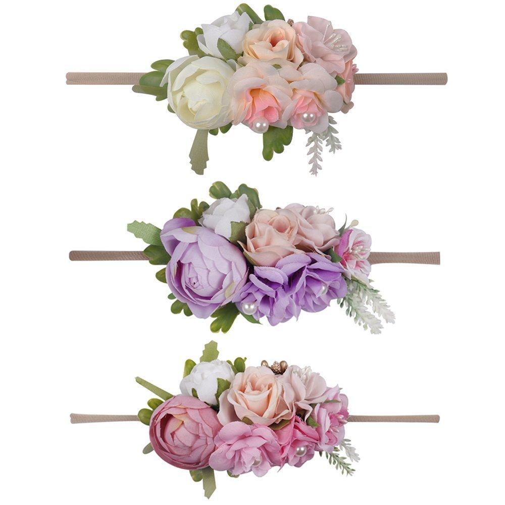 Baby Girls Nylon Floral Headband - Subesty Flower Crown Elastic Hairband For Newborn Infant Toddler Photo Shower Set Of 3