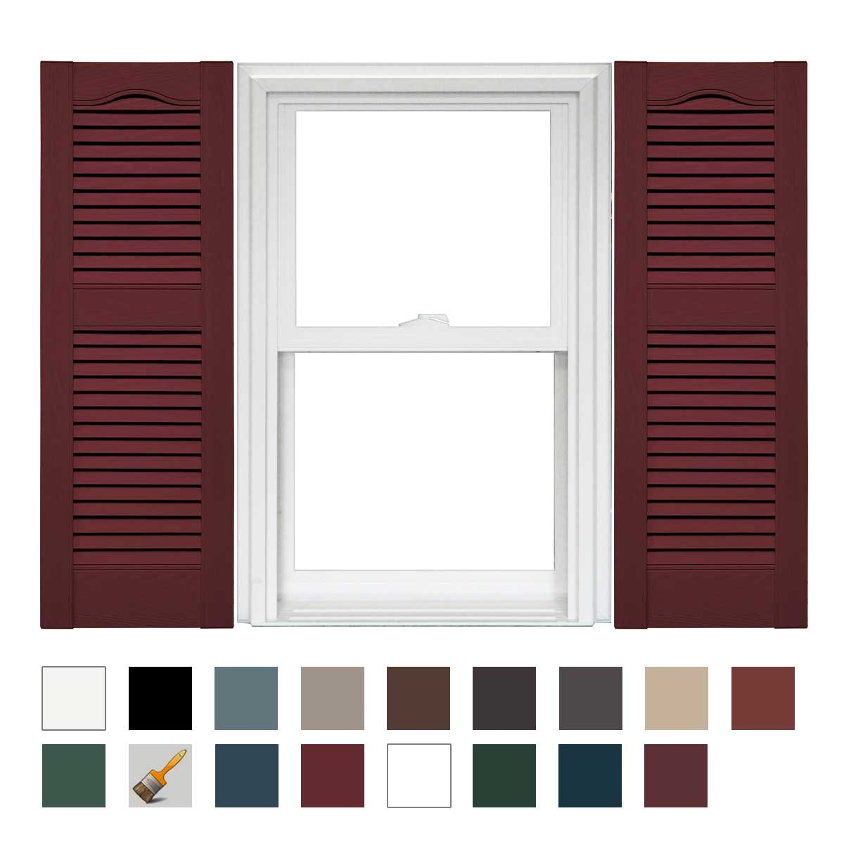Mid America Cathedral Open Louver Vinyl Standard Shutter (1 Pair) - 12 x 25 078 Wineberry by Mid America