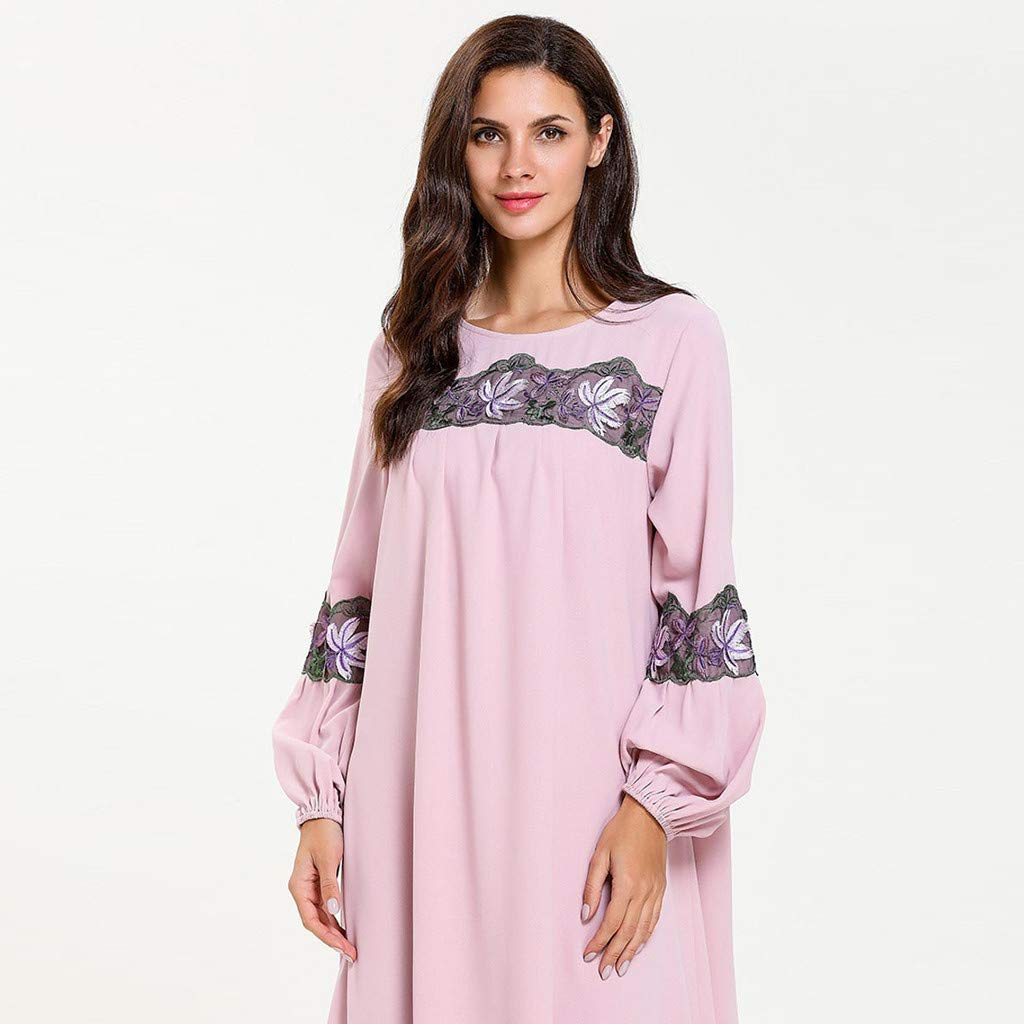 perfectCOCO Women Muslim Dress Elegant Floral Loose Arab Dresses Islam Jilbab Cocktail Robes Pink by perfectCOCO dress (Image #8)