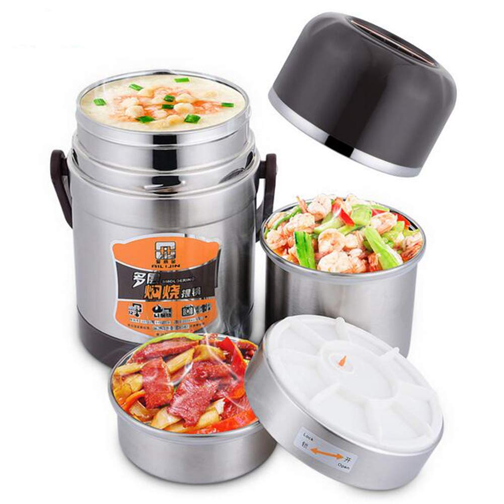 DINNA Food Container Vacuum Flask Bottle For Stew Cook Soup Food, Stainless Steel Food Storage Containers Bento Box Heat Cold Insulated,2.0L [Energy Class A]